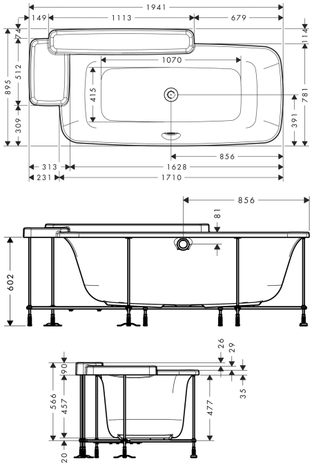 Hansgrohe Axor Bouroullec Built In Bath Tub 19955000